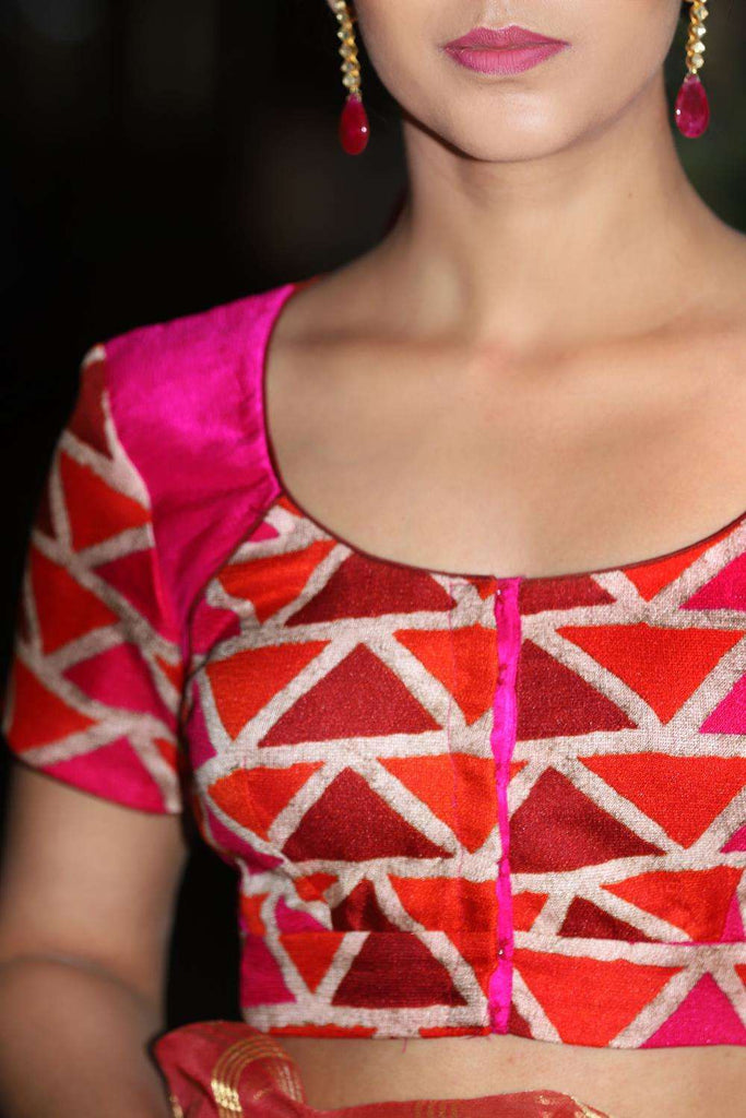 Pink and orange geometric printed jute two fabric blouse - House of Blouse