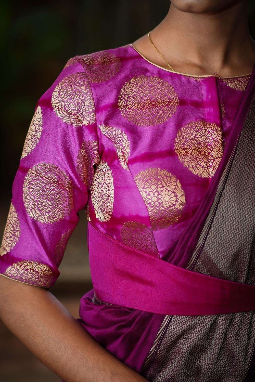 Pink and purple shibori shaded brocade belted blouse - House of Blouse