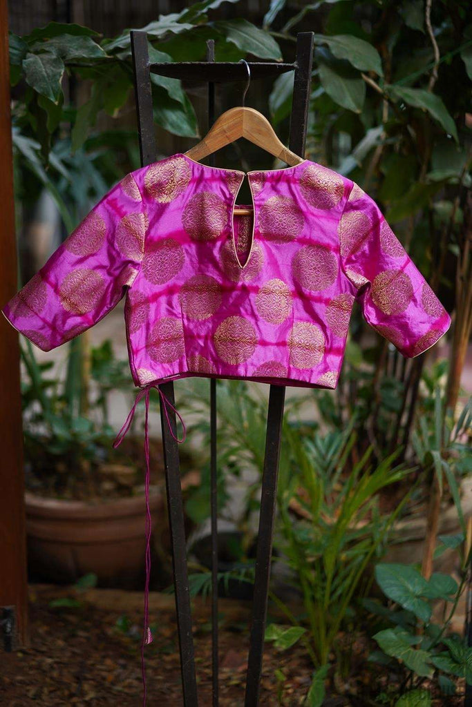 Pink and purple shibori shaded brocade belted blouse