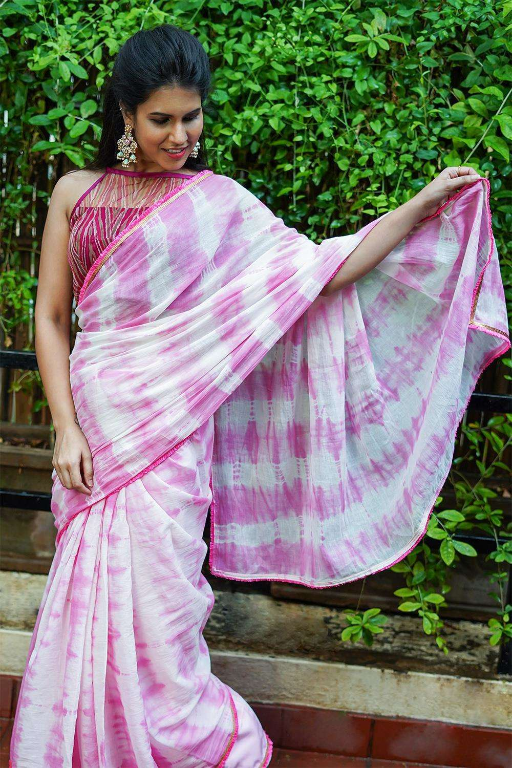 Pink and white shibori shaded mul cotton saree with pink frill edging
