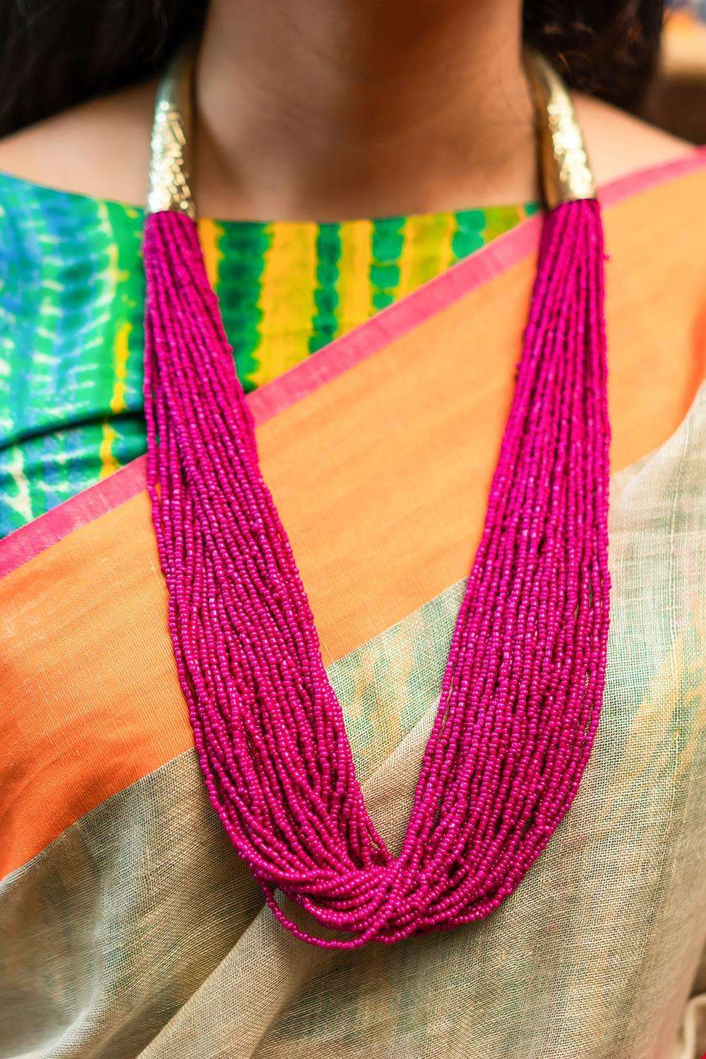 Pink Beads Gold Tubes Necklace - House of Blouse