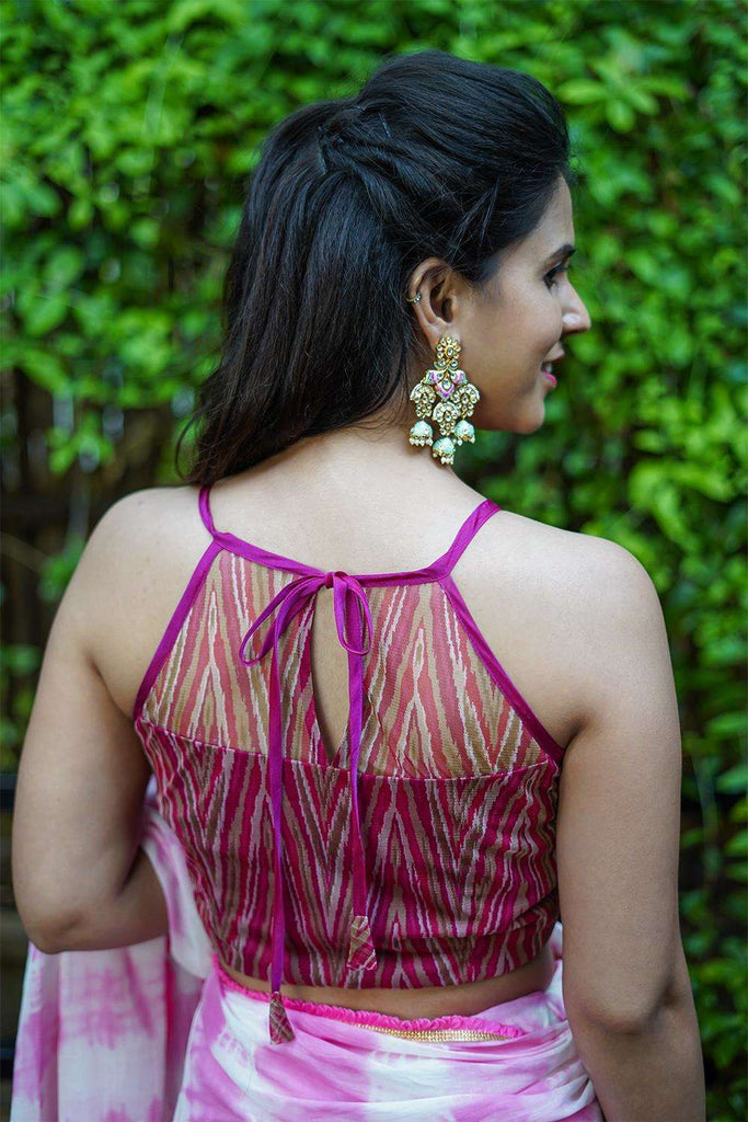 Pink geometric printed net halter blouse - House of Blouse