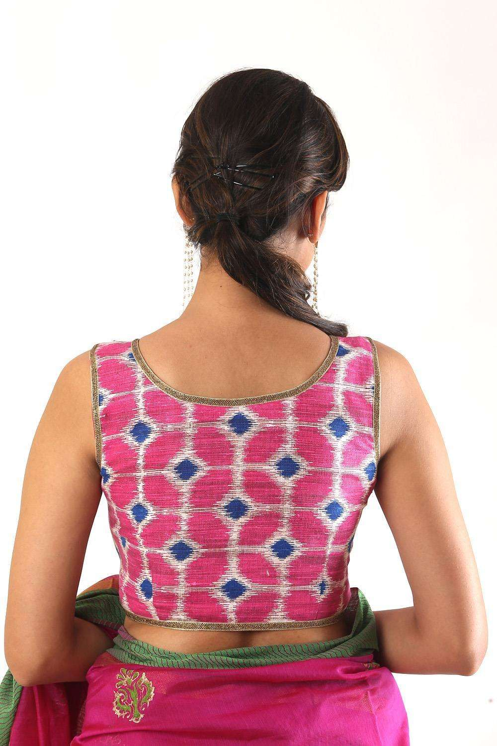 Pink Ikat sleeveless blouse with zip detailing - House of Blouse