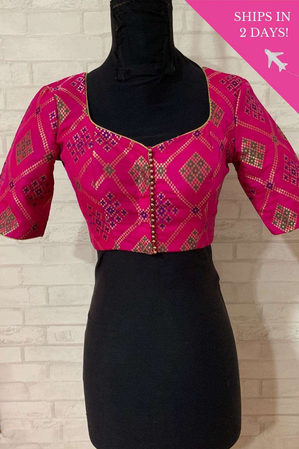 Pink multicolour sweetheart neck blouse; Size: 34 - House of Blouse