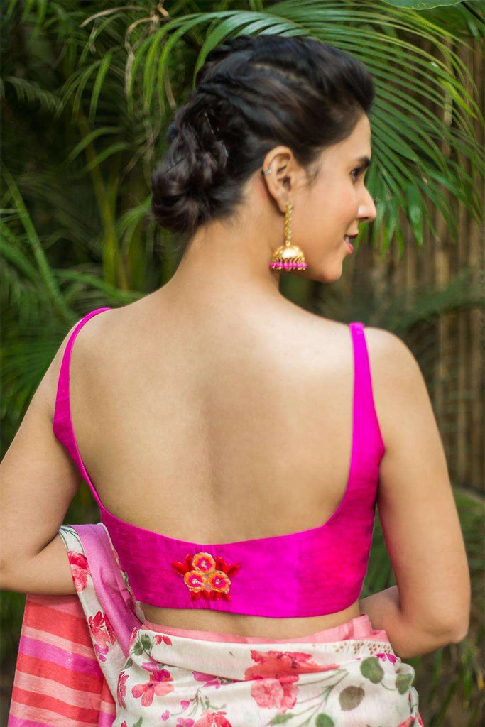 Pink raw silk sleeveless blouse with applique on back - House of Blouse