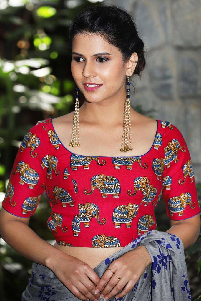 Pink rayon blouse with printed Kalamkari elephant motifs and back detailing - House of Blouse