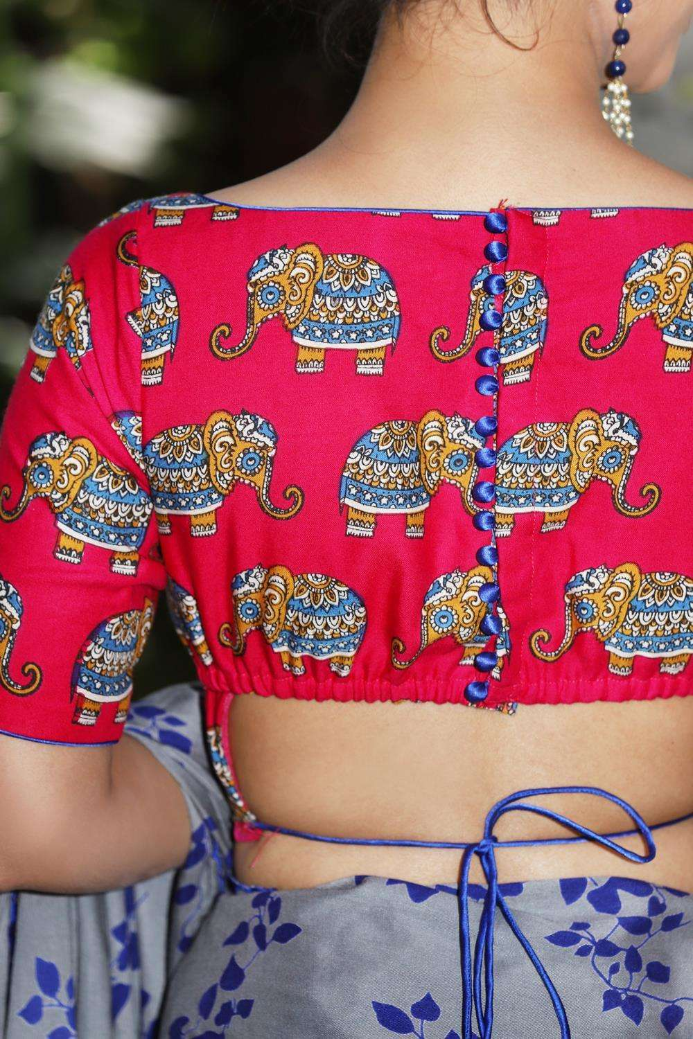Pink rayon blouse with printed Kalamkari elephant motifs and back detailing