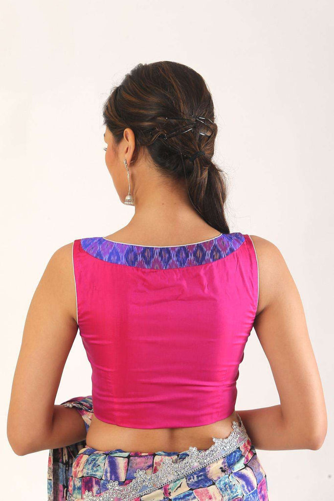 Pink silk and purple Ikat sleeveless boatneck blouse - House of Blouse