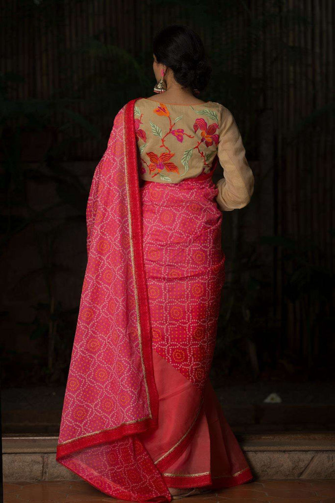 Pink to red shaded bandhani printed half and half saree with red lace border - House of Blouse