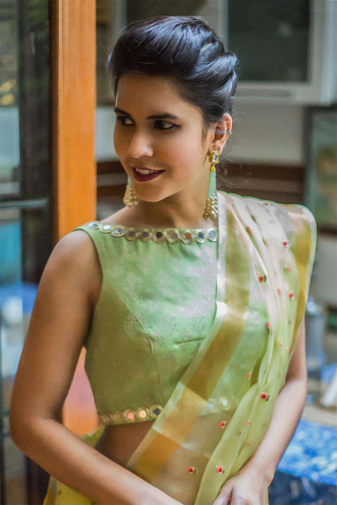 Pista green brocade boatneck blouse with mirror work border - House of Blouse