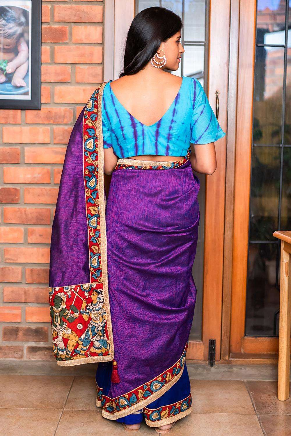 Purple-pink jute cotton and royal blue spun silk half and half saree
