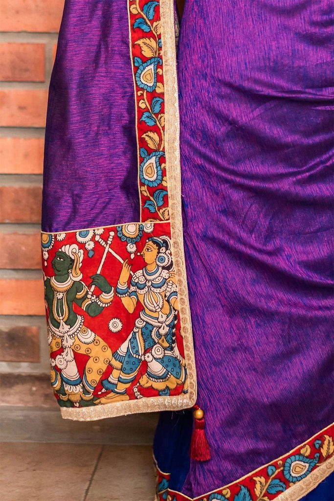 Purple-pink jute cotton and royal blue spun silk half and half saree - House of Blouse