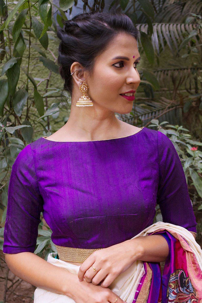 Purple raw silk boatneck blouse with gold sequin border