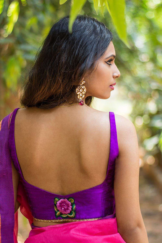 Purple raw silk sleeveless blouse with applique on back