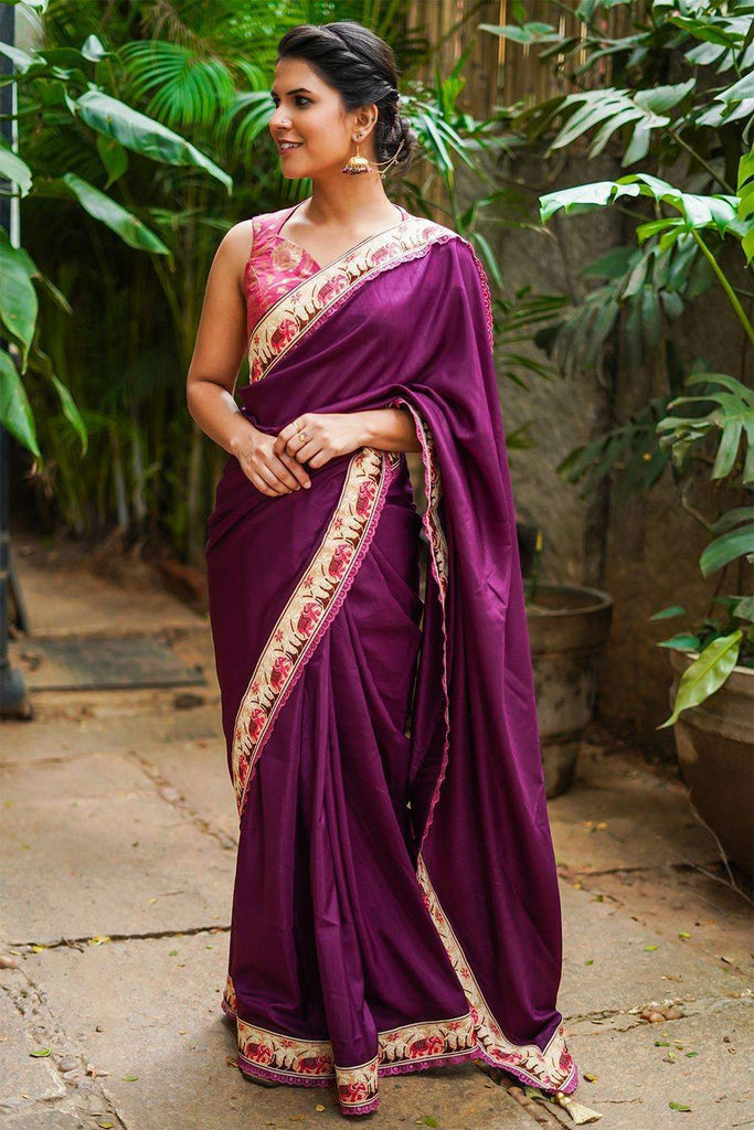 Purple semi matka silk saree with Banaras threadwork border and pink lace edging - House of Blouse
