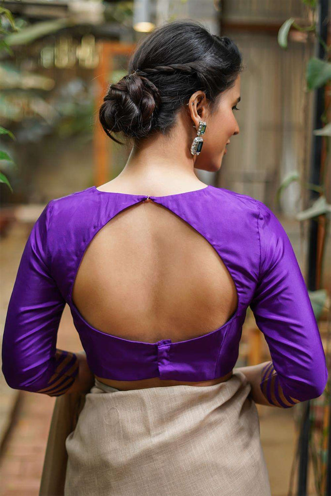 Purple silk rounded V neck blouse with brocade sleeve detailing
