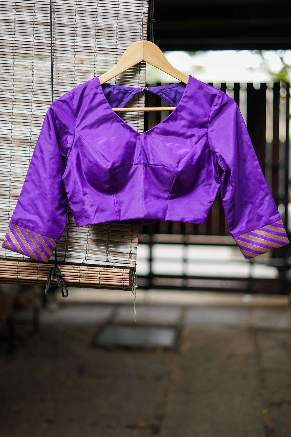 Purple silk rounded V neck blouse with brocade sleeve detailing - House of Blouse