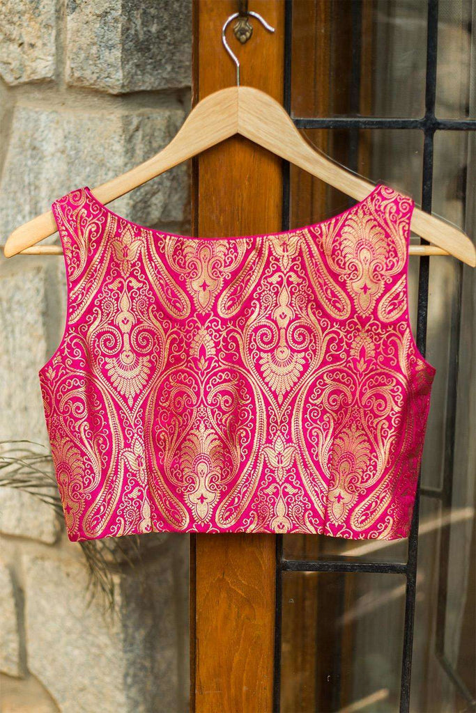 Rani pink brocade sleeveless blouse with potli button detailing - House of Blouse