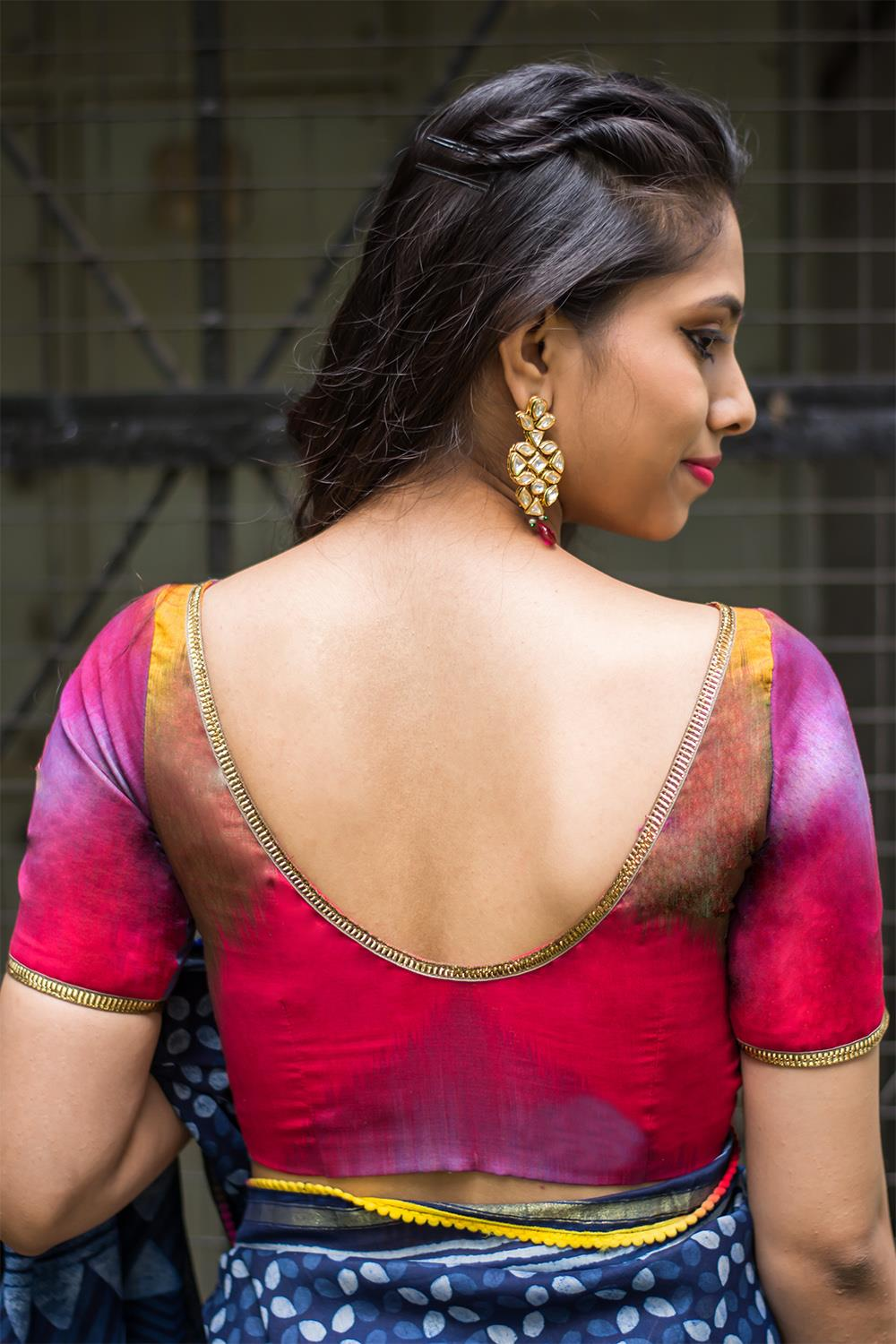 Multicolour Ikat boat neck blouse with gota lace detailing - House of Blouse