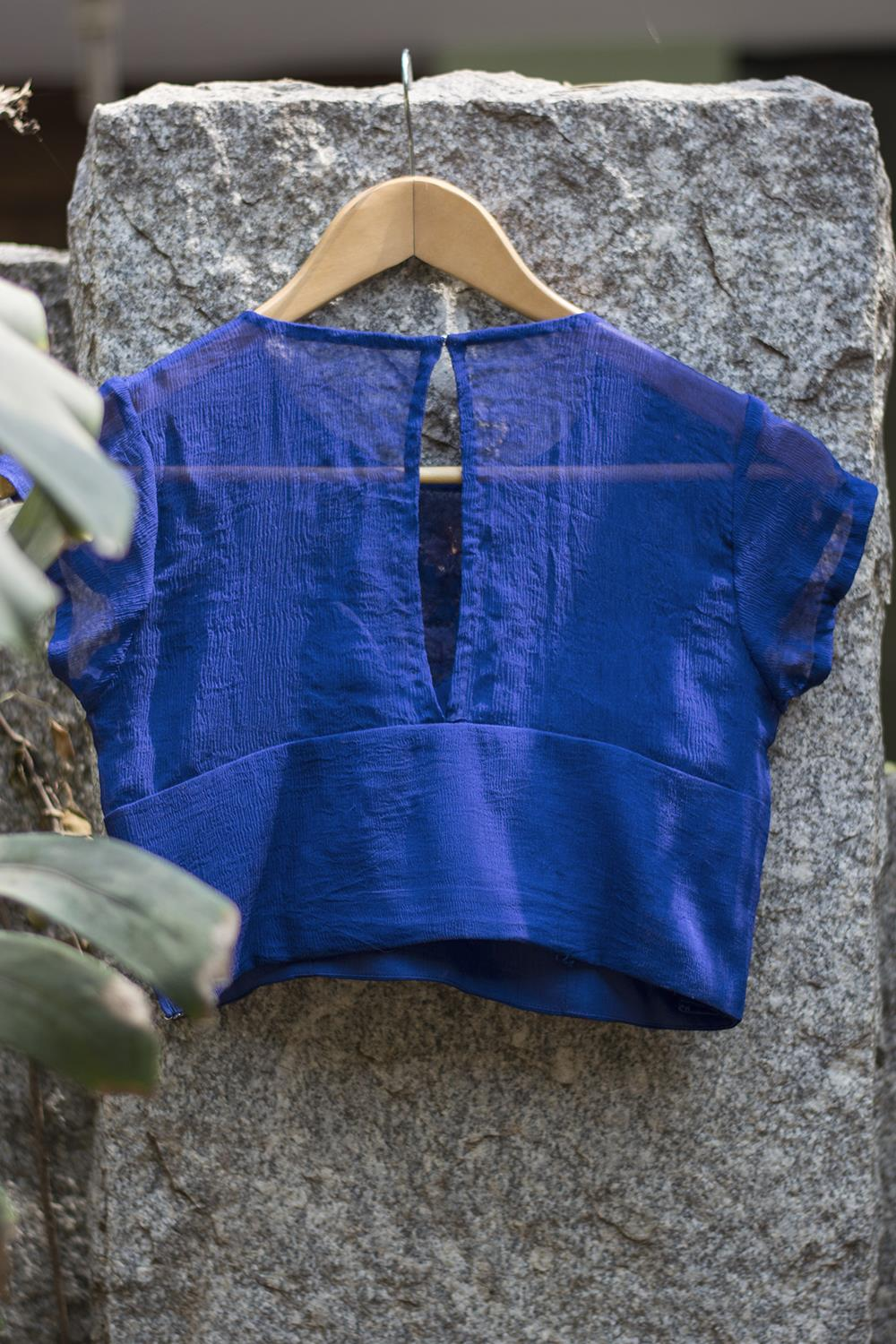 Ultramarine blue sheer yoke blouse - House of Blouse