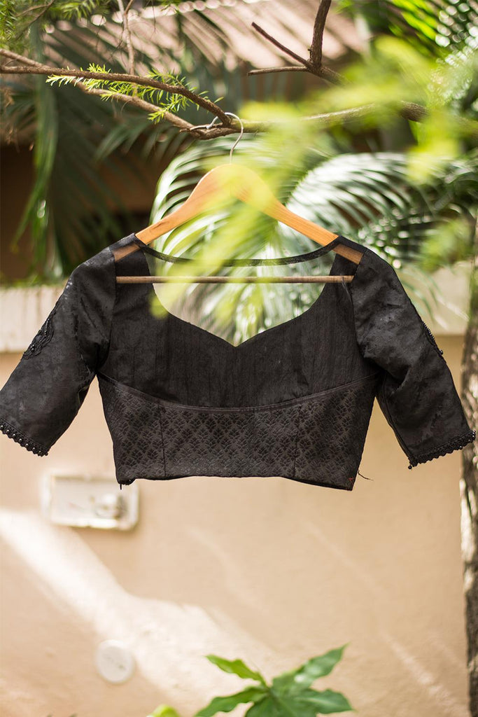 Black sweetheart neck bustier style blouse - House of Blouse