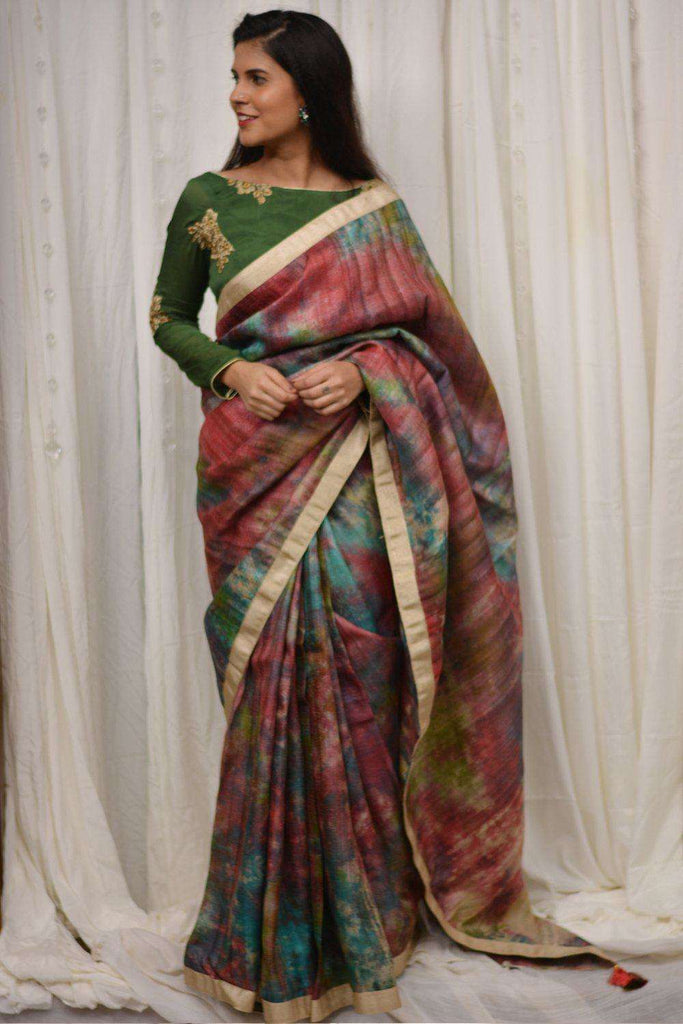 Red, blue and green shibori shaded jute silk saree with gold shimmer border