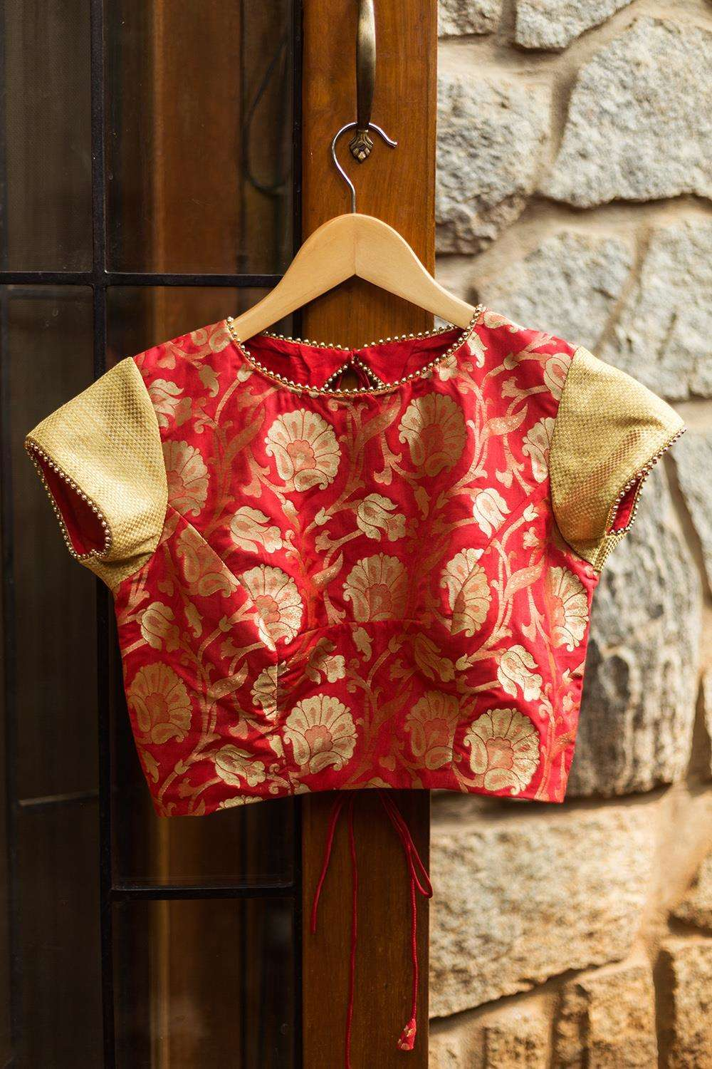 Red brocade closed neck blouse with gold brocade sleeves - House of Blouse