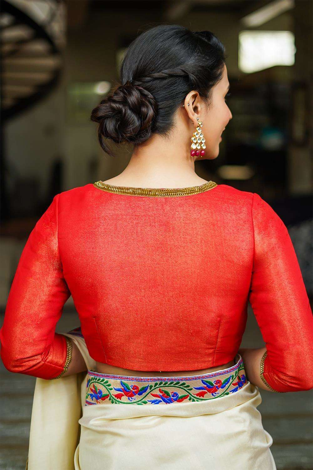 Red-gold tissue brocade blouse with gota lace detailing - House of Blouse