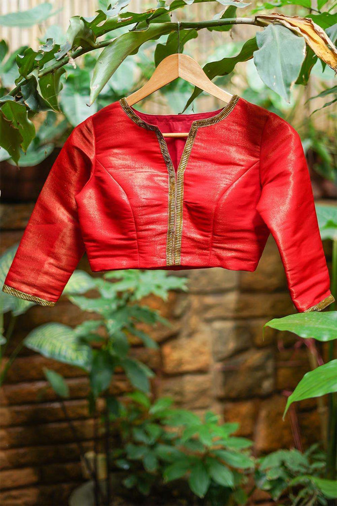 Red-gold tissue brocade blouse with gota lace detailing