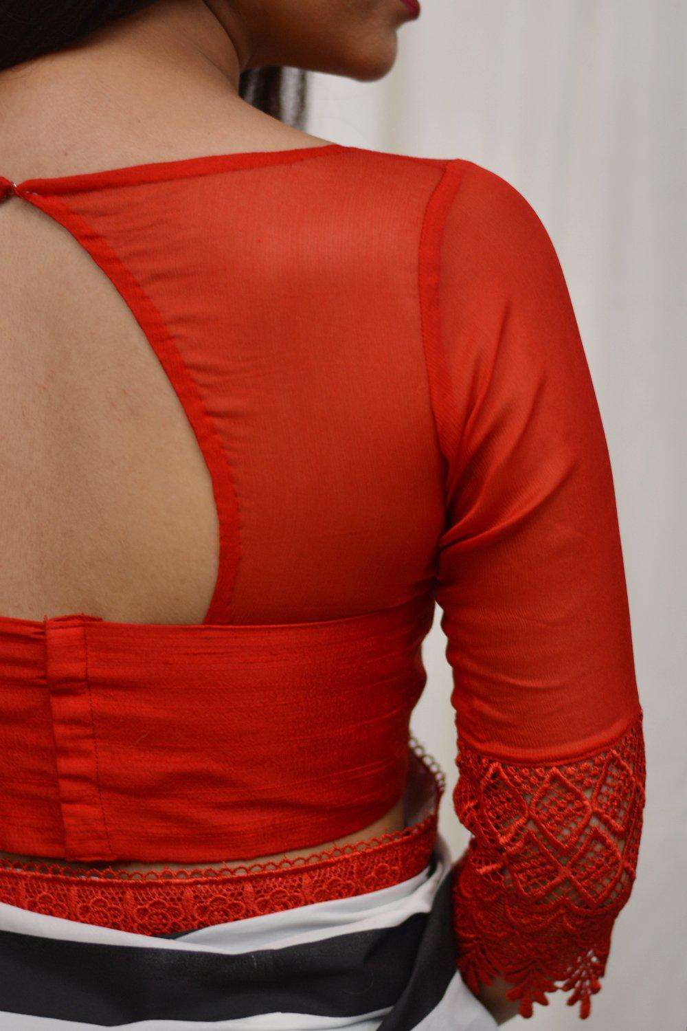 Red raw silk and chiffon sheer yoke blouse with lace border