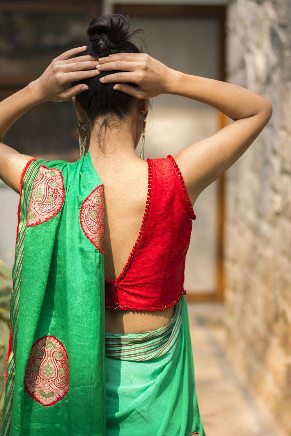 Red raw silk blouse - House of Blouse