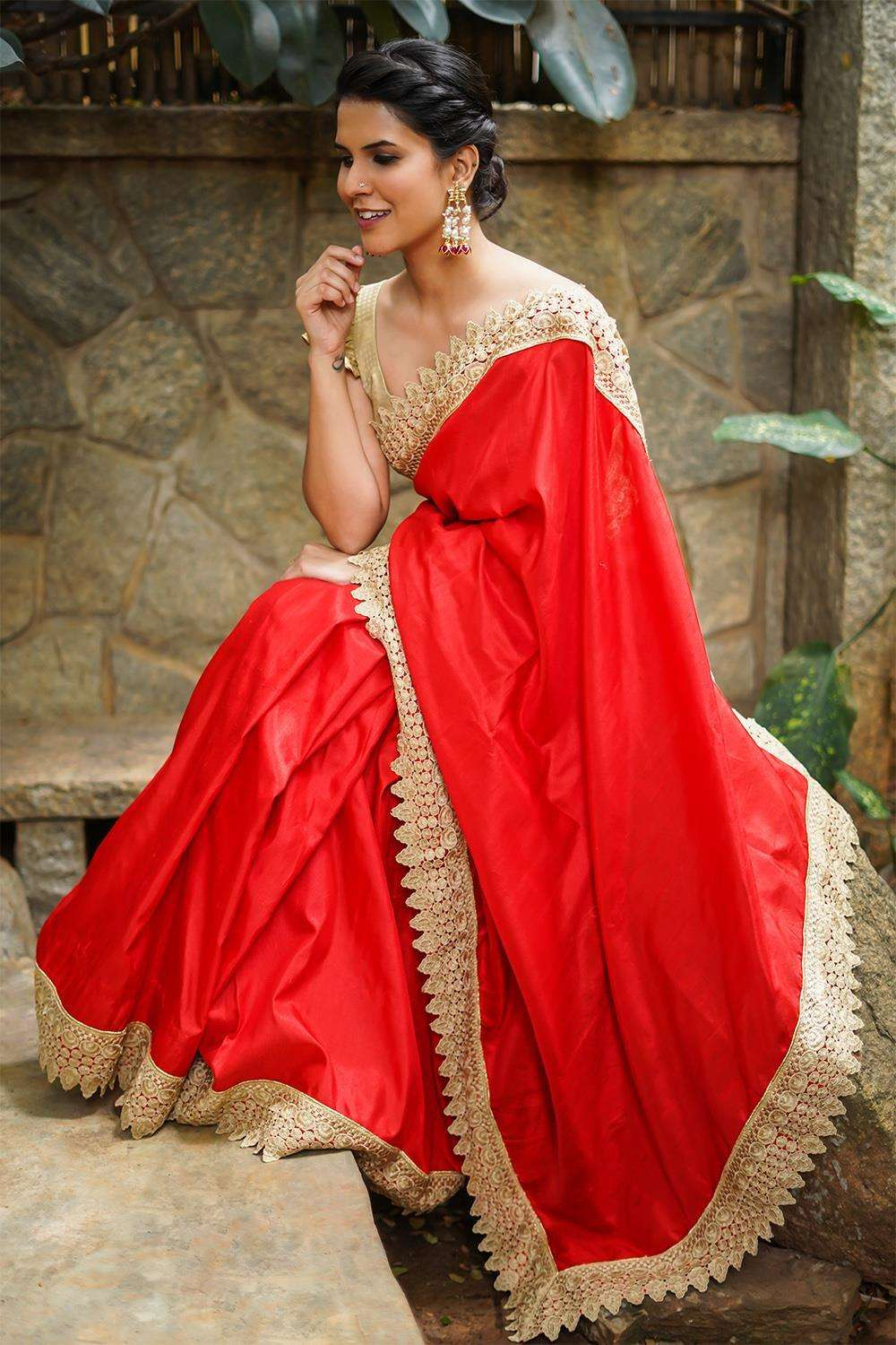 Red raw silk saree with gold cutwork lace border - House of Blouse