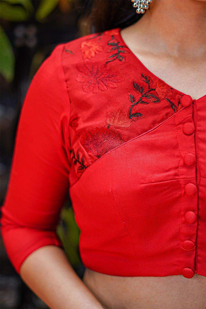 Red soft cotton and threadwork V neck blouse with button detailing - House of Blouse