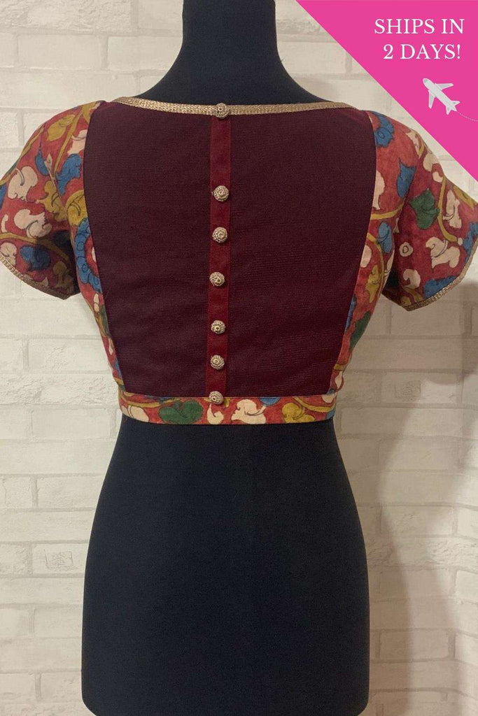 Reddish kalamkari blouse with sheer back & shimmer buttons; Size: 40