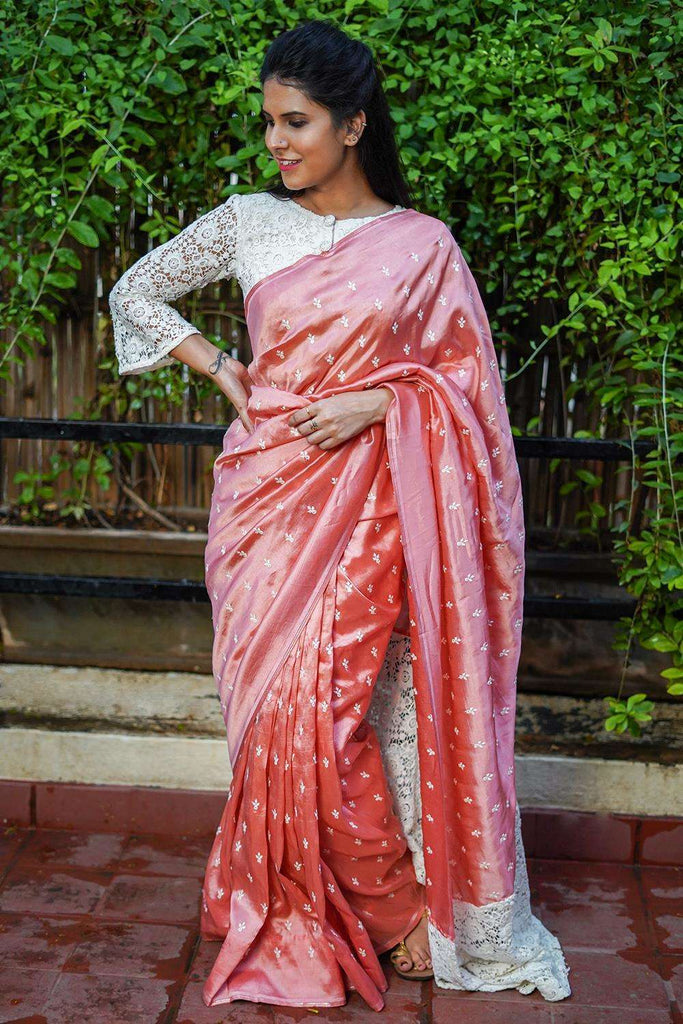Rose pink cotton silk saree with white threadwork motifs and lace pallu - House of Blouse
