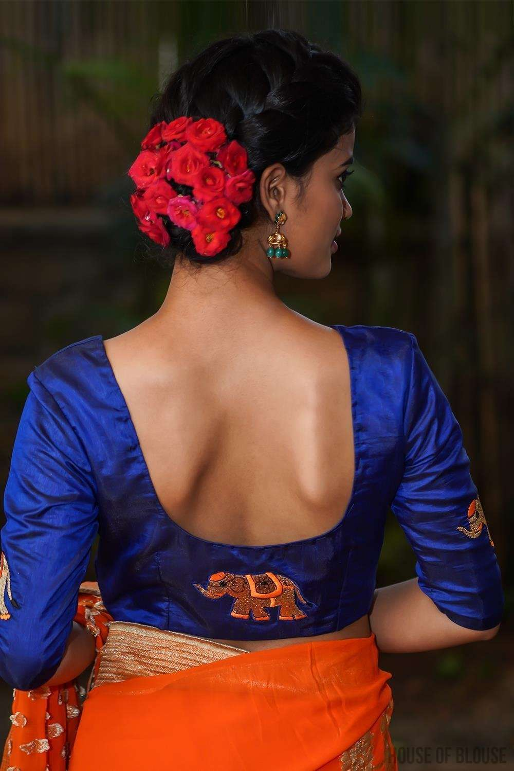Royal blue semi silk blouse with embroidered elephant appliques - House of Blouse