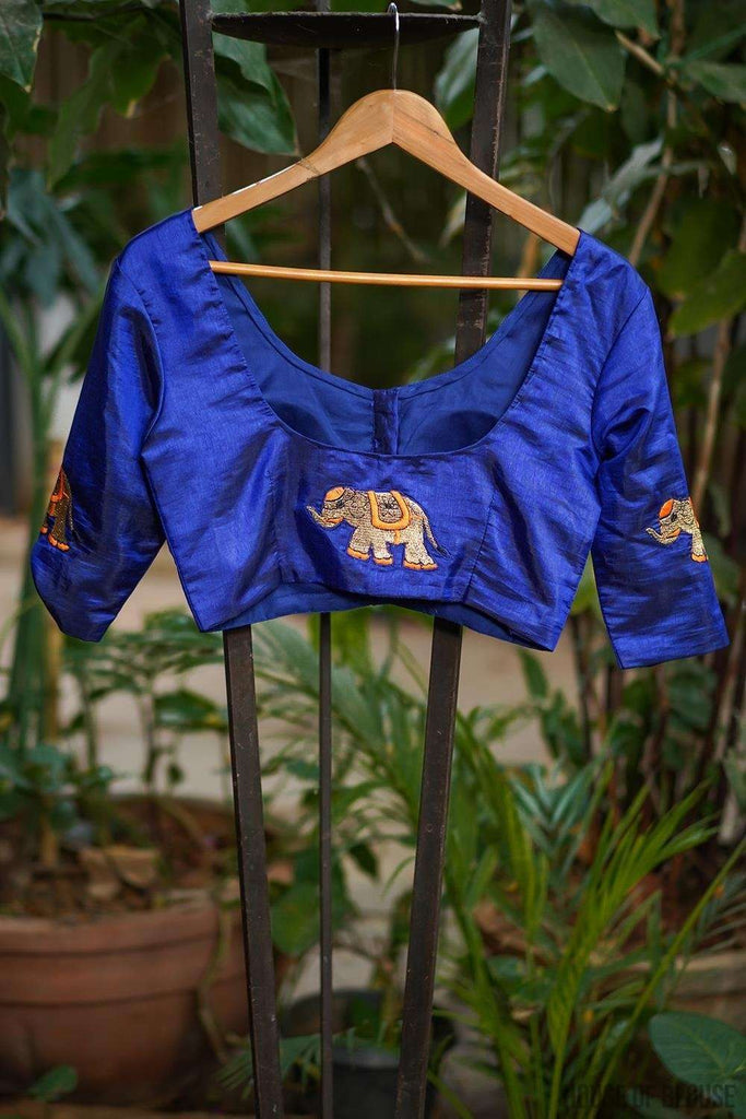 Royal blue semi silk blouse with embroidered elephant appliques