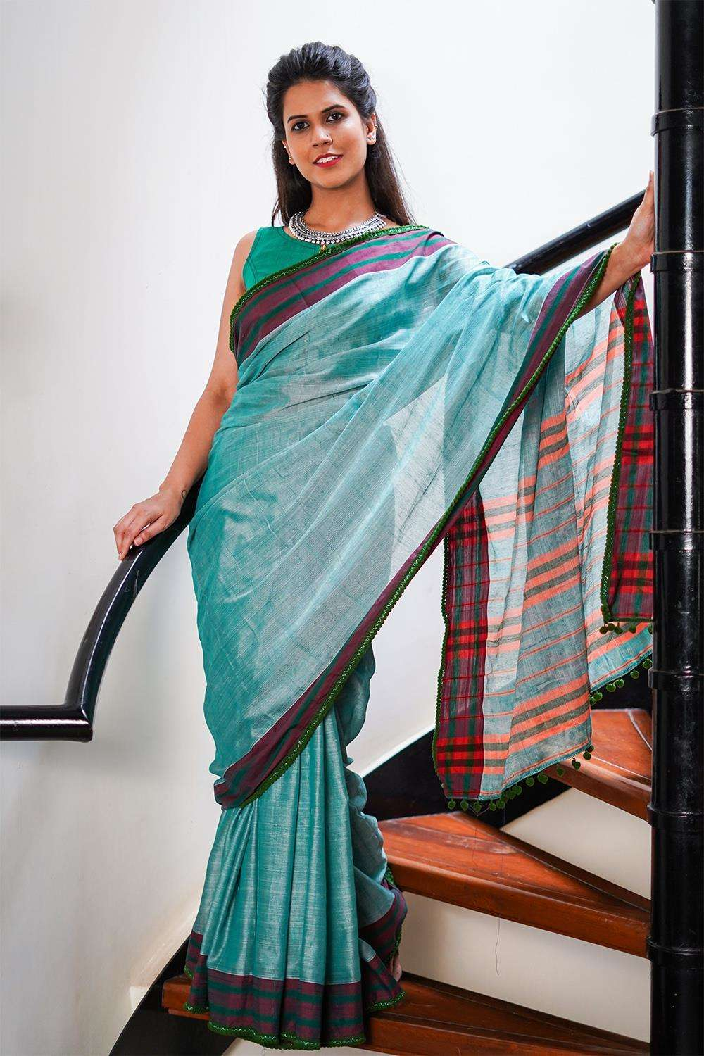 Sage green Narayanpet handloom cotton saree with maroon border and green pom pom edging - House of Blouse