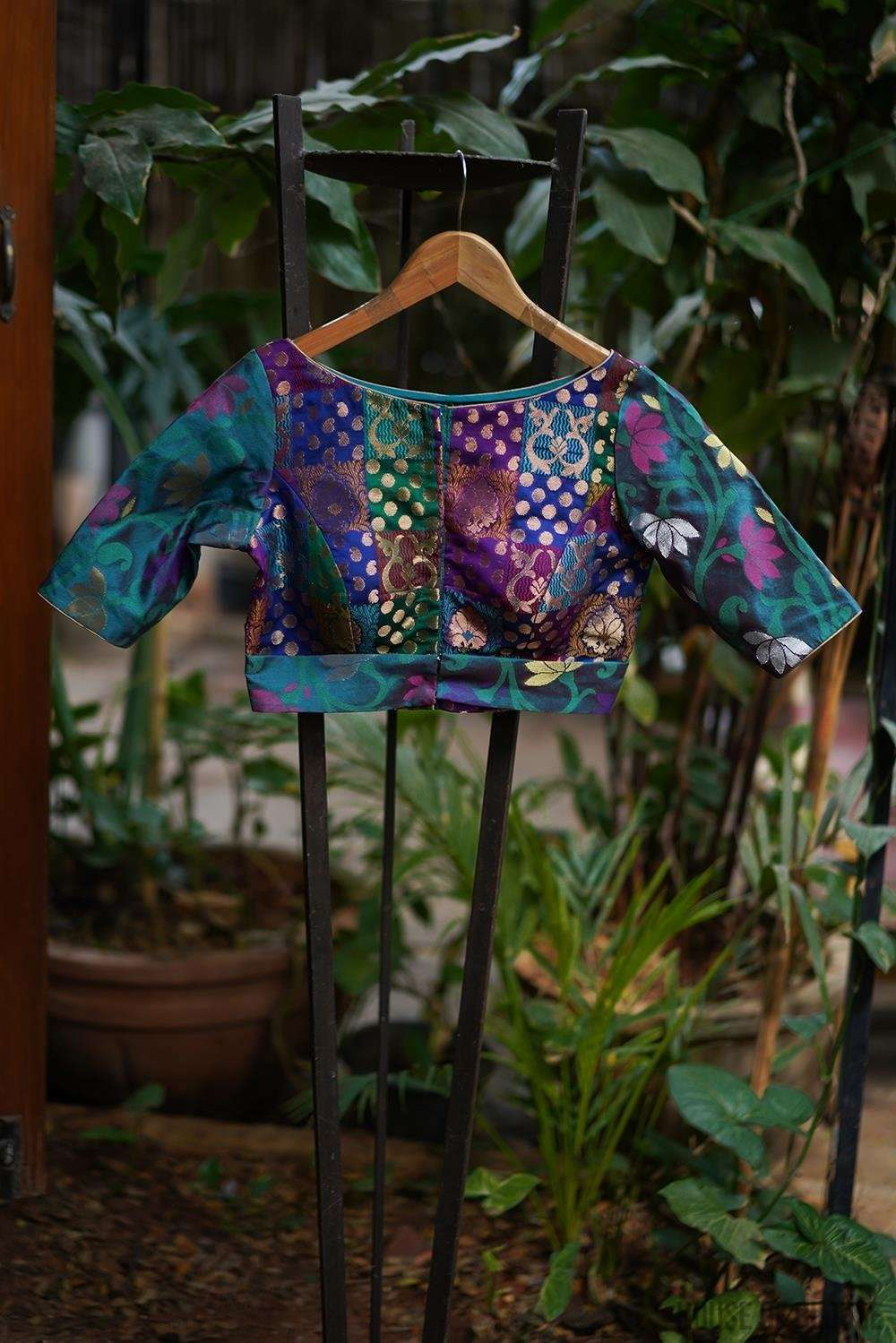 Sea green and multicolour brocade belted blouse