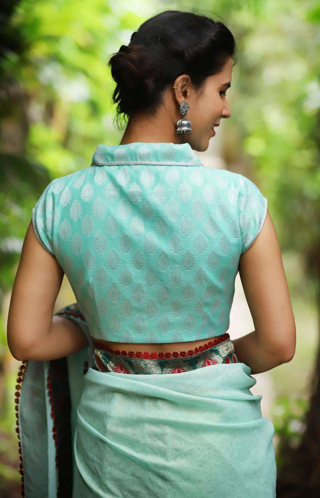 Sea green and silver chanderi brocade blouse with shawl collar - House of Blouse