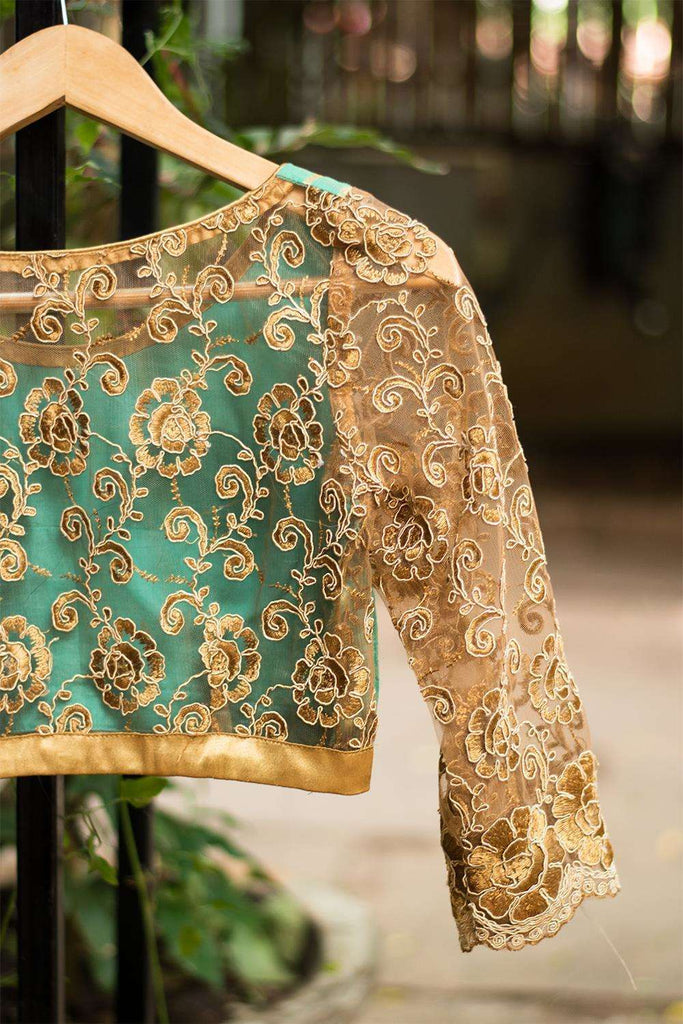 Sea green chanderi cotton silk blouse and threadwork blouse - House of Blouse