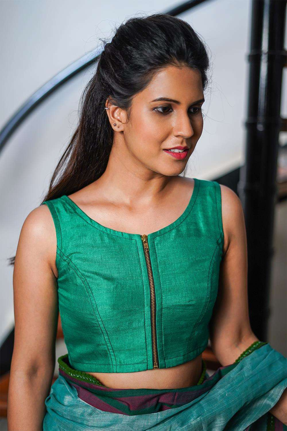 Sea green semi matka silk sleeveless blouse with zip detailing - House of Blouse