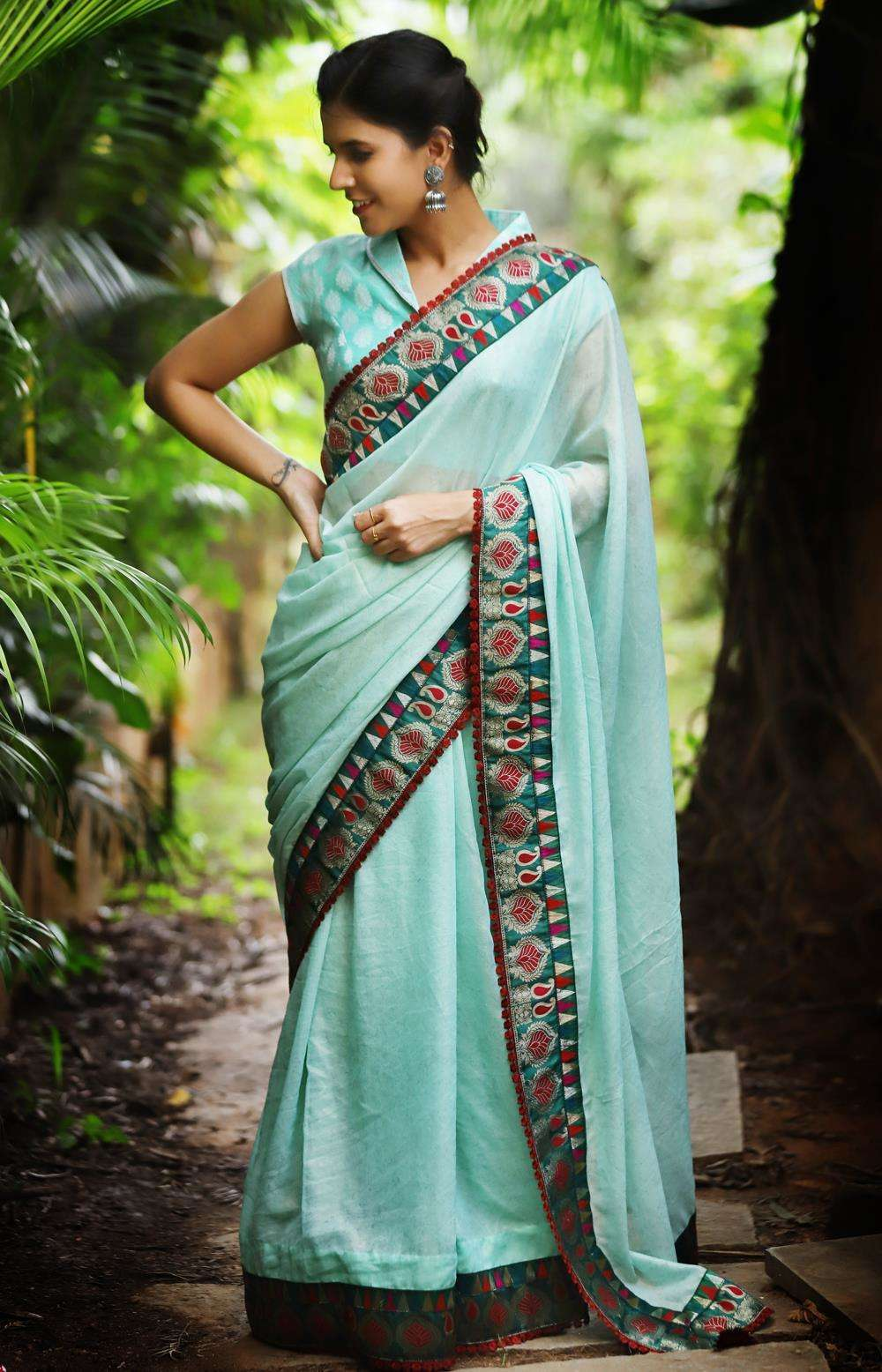 Sea green shimmer foil georgette saree with green banaras brocade border and maroon lace edging - House of Blouse