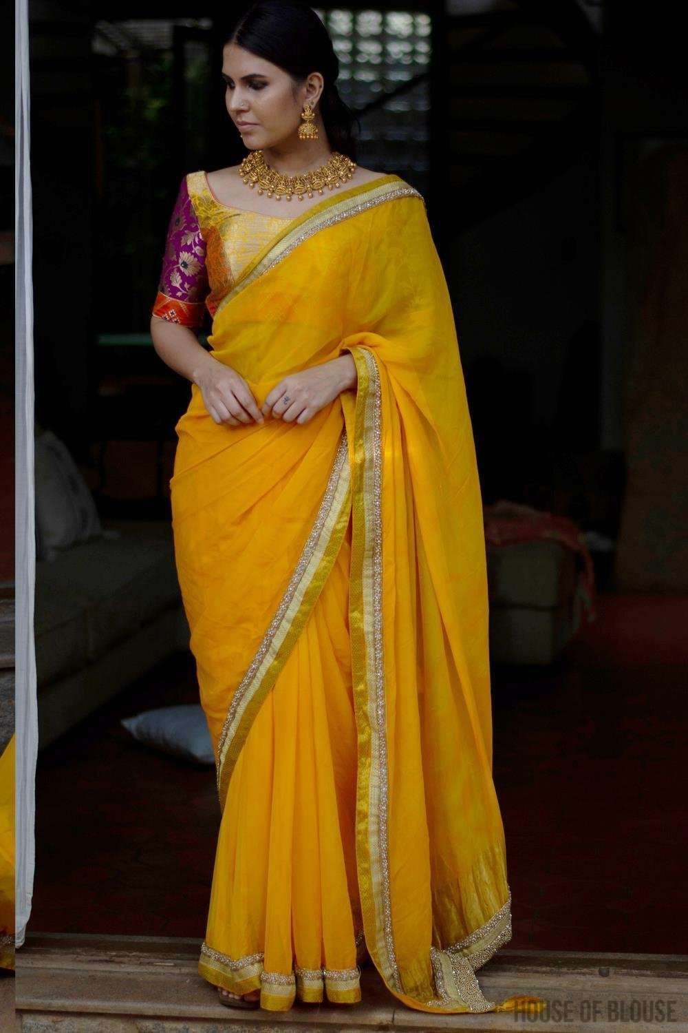 Shibori dyed pure chiffon saree in bright yellow - House of Blouse