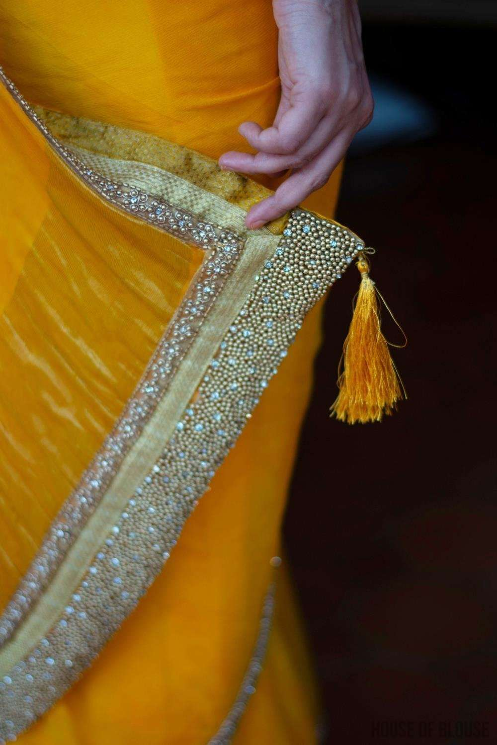 Shibori dyed pure chiffon saree in bright yellow