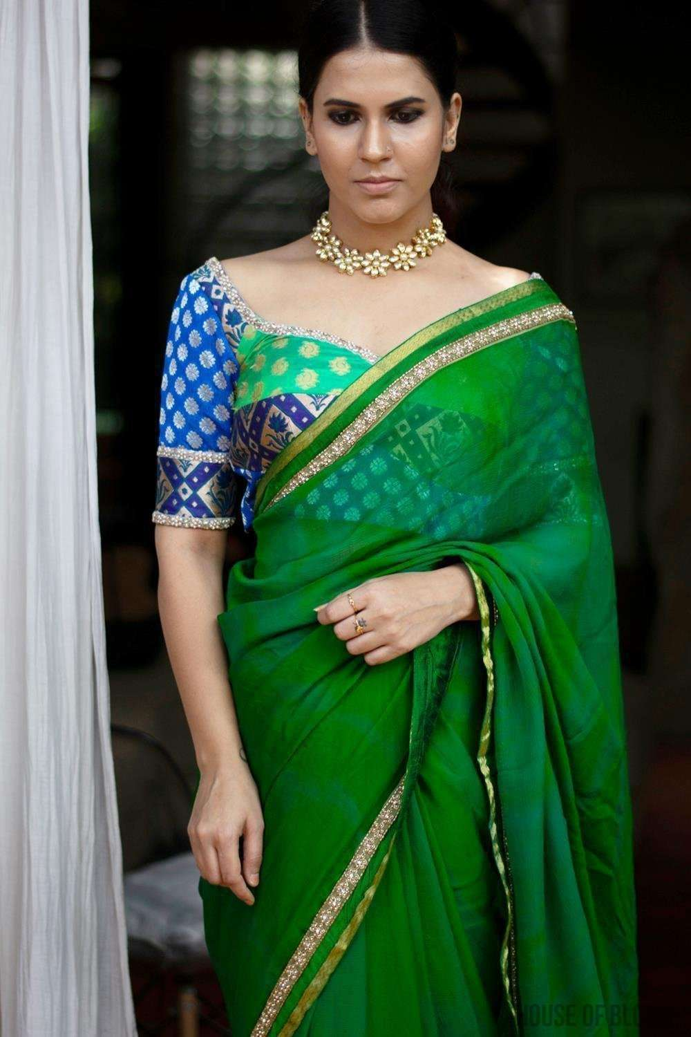 Shibori dyed pure chiffon saree in emerald green - House of Blouse