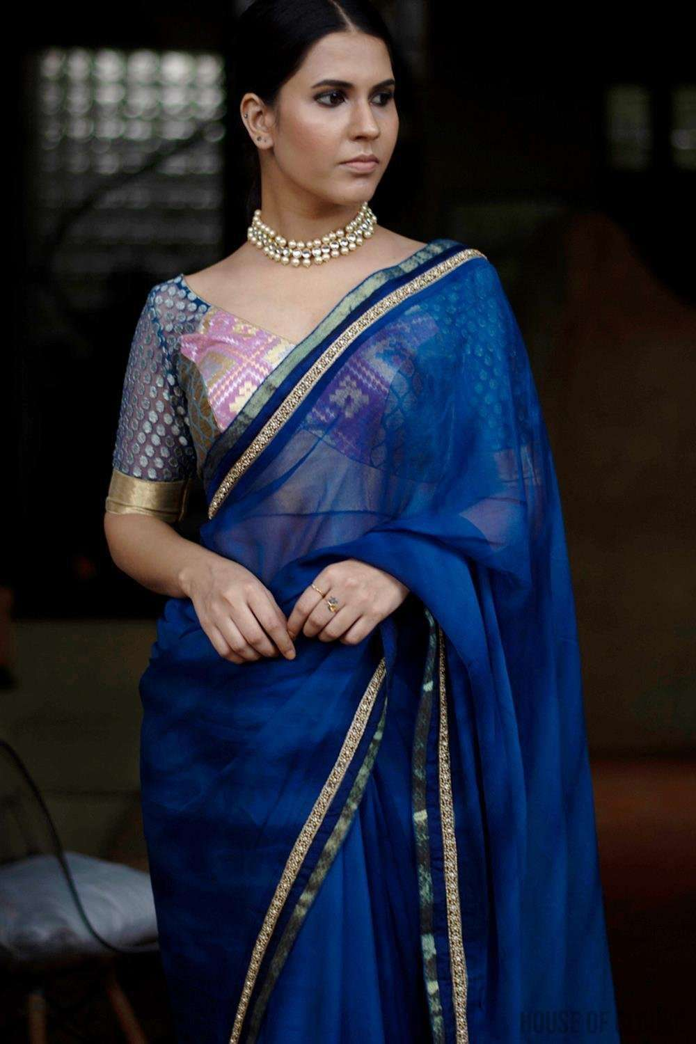 Shibori dyed pure chiffon saree in royal blue, with border of zari, crystals, and gold beads