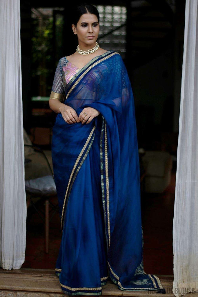 Shibori dyed pure chiffon saree in royal blue, with border of zari, crystals, and gold beads - House of Blouse