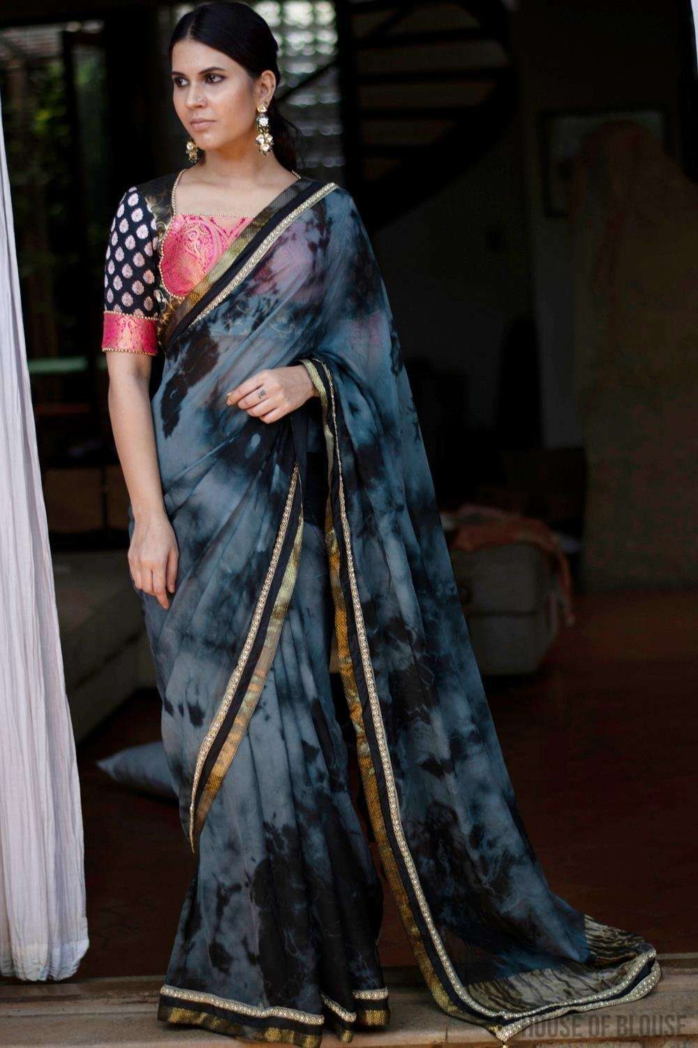 Shibori dyed pure chiffon saree in tranquil grey and black - House of Blouse