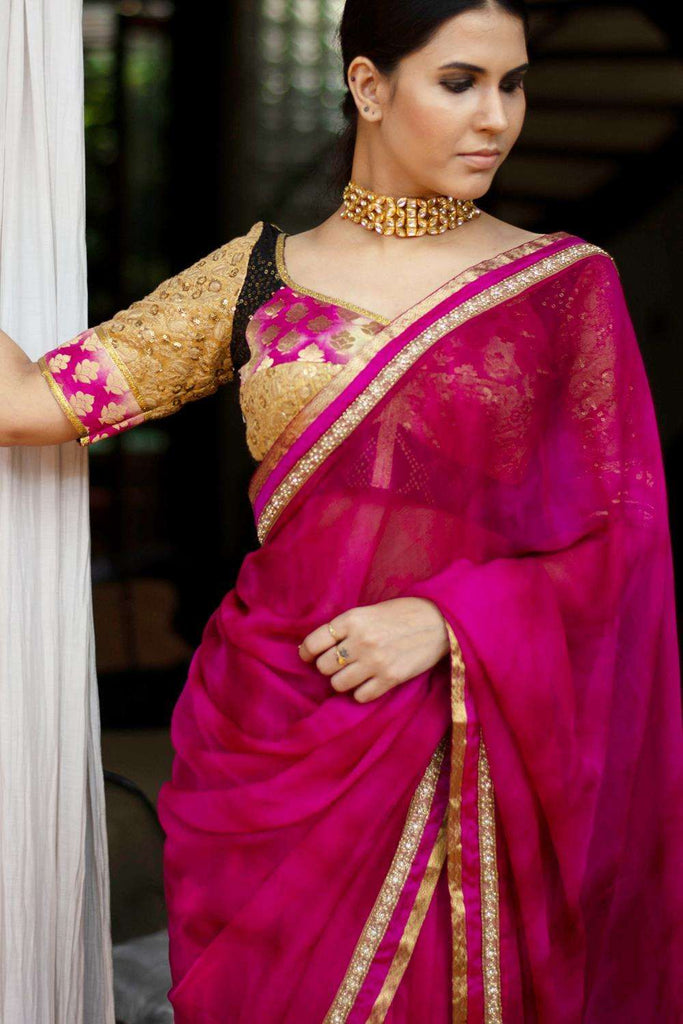 Shibori dyed pure chiffon saree in vivid pink, with border of zari, crystals, and gold beads - House of Blouse